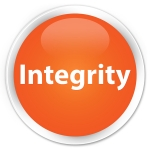 89501206 - integrity isolated on premium orange round button abstract illustration